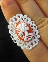 Red SKeleton Cameo Ring by egyptianruin