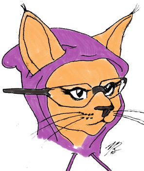 Hipster Kitty Drawing by 061342the2nd