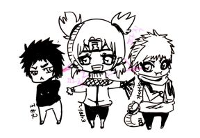 Temari,Gaara, Kankuro,chibi by Clamp101