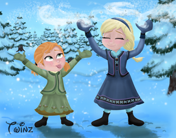 Anna And Elsa - Let It Snow! by Pussycat-Puppy
