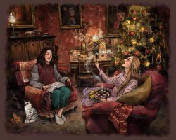 Christmas at Griffindor Common Room by AlyonaGlebova