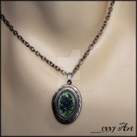 Green and Black Rose Locket by 1337-Art