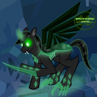 Crystal Thorn's OC - Obsidian Changeling-fied by ZeksMorshar