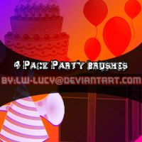 4 Pack Birthday PArty Brushes! by LW-Lucy
