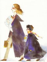 Mr Lupin and Harry Potter by Lilhian