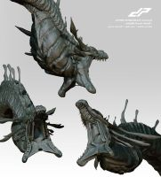zSHIN GHIDORAH middle head alternate views 1 by dopepope