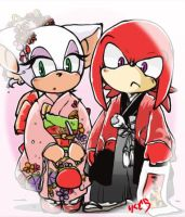 Rouge and Knuckles by riku-dou