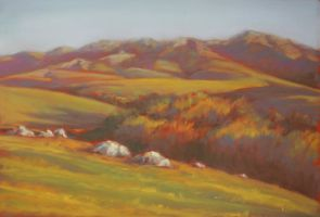 Late Afternoon Hills by kcthreads