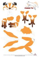 Quick Brown Fox papercraft Pattern by Kna