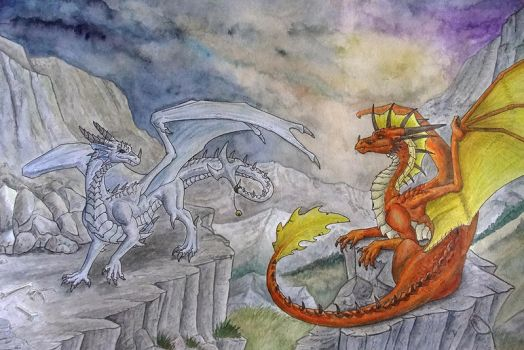 Two Evil Dragons in the Mountains by Psydrache