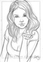 Selena Gomez Sketch Card by Nortedesigns