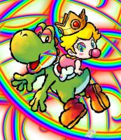 Yoshi and peach by langstein123