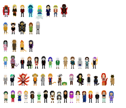 Chibis and pixels by Ekkusuinetto