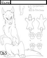 Free Wolf Reference LineArt by Draslonias
