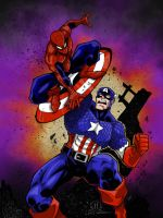 SPIDEY VS CAP colors by CThompsonArt