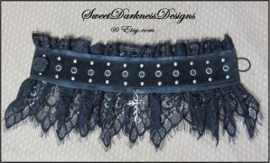 Gothic choker collar necklace leather lace cross by SweetDarknessDesigns