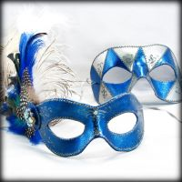 Blue and Silver Mask Pair by pilgrimagedesign