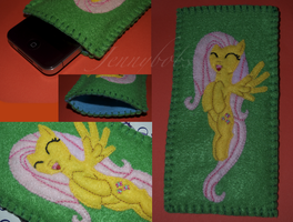 Fluttershy mlp felt phone cover by Blindfaith-boo