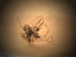 Silver flower clock face ring by StaticSkies