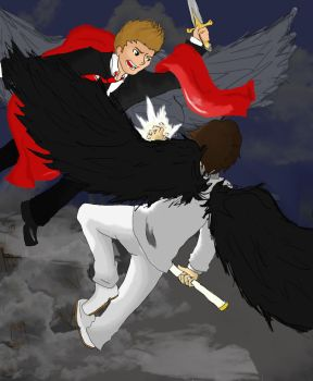 Spn- Micheal VS Lucifer by 16AngelWing16