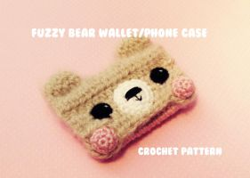 Kawaii Fuzzy Bear Wallet / Phone Case crochet by hellohappycrafts