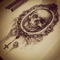 Skull with rosary. by leirivera03