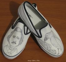 WIP Edgar Allan Poe shoes by vcallanta