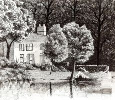 House By The Lake in Ink by ronnietucker