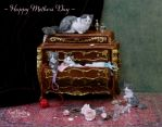 Miniature Mother Cat and Kittens sculpture by Pajutee