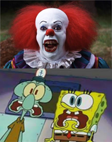 Pennywise scared SpongeBob and Squidward by MarcosPower1996