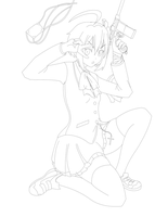 Lineart - Rikka Takanashi Wicked Lord Shingan ver. by return-null