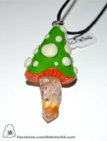 Polymer Clay Mushroom Pendant with Citrine by Dabstar