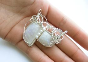 Moonstone and Pearl Two Stone Pendant by pixie-trick