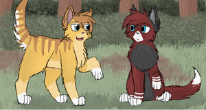 Honeypaw and Redpaw by CascadingSerenity