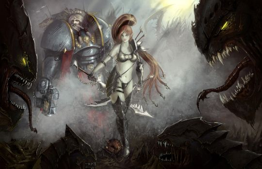 40k commission - Lilith and a Space Wolf by Michael-Galefire
