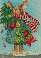 ATC Christmas Mouse by waughtercolors