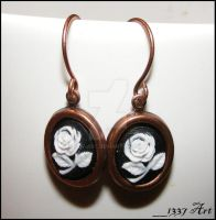 Copper Rose Cameo Earrings by 1337-Art