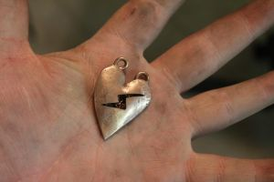 Copper Heart filled with Barbed Wire Pendant by connerchristopher