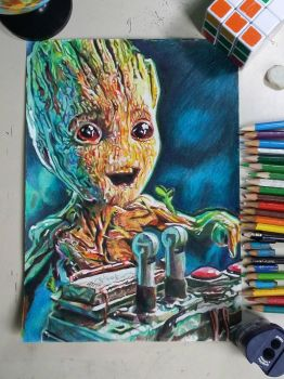 drawing baby groot  by rafmadragon