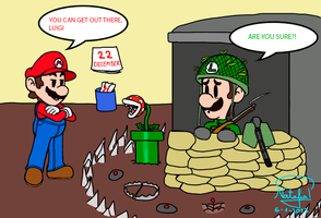 Luigi was prepared for the end of the world! by Dino-drawer
