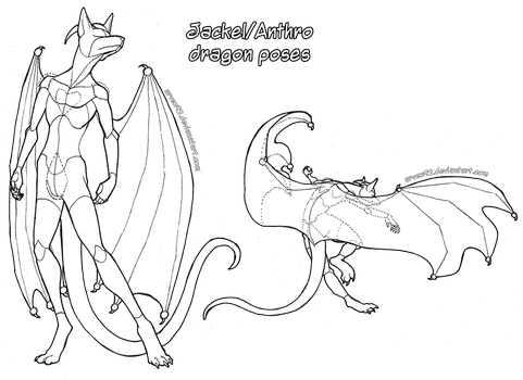 Pose Reference: Anthro Dragon Poses + DLC by ARVEN92
