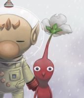 Olimar and Red Pikmin by WishField