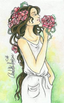 Girl with flowers in her hair by Chhan