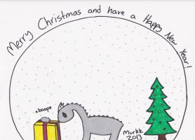 Christmas Dino by The-Scribbly-Fairy
