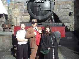 Remus and Bellatrix with the Train Conductor by misaapril288