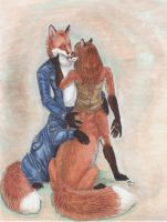 Khaos and Alina- Foxtaurs by ebonytigress