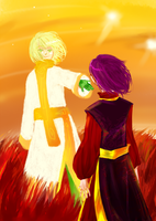 Theta and Koschei - on Gallifrey by lufieMstark
