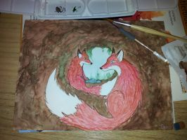 Foxmother and her babyfox in the fox burrow by BuntschwarzSue