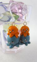 Teal Orange Octo Earrings by egyptianruin