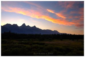 Sunset on the Tetons by Raymaker